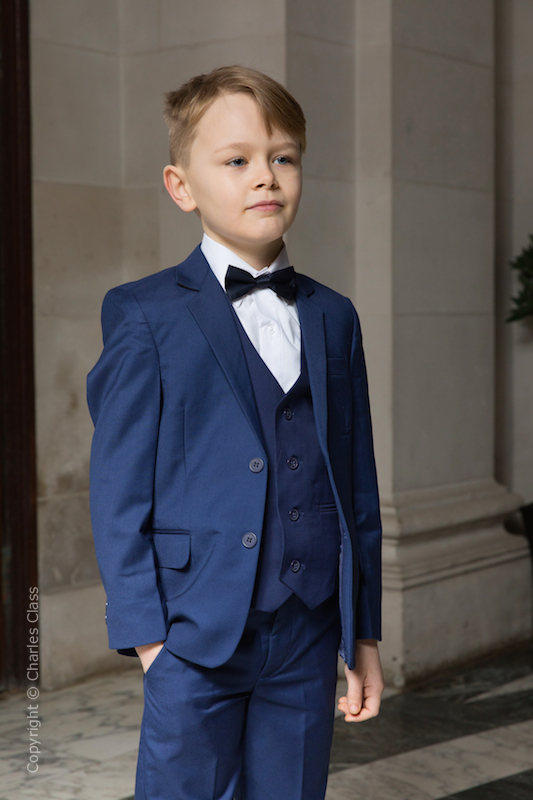 Boys Royal Blue Suit with Navy Bow Tie - George