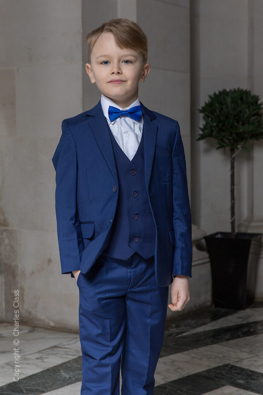 Boys Royal Blue Suit with Royal Bow Tie - George
