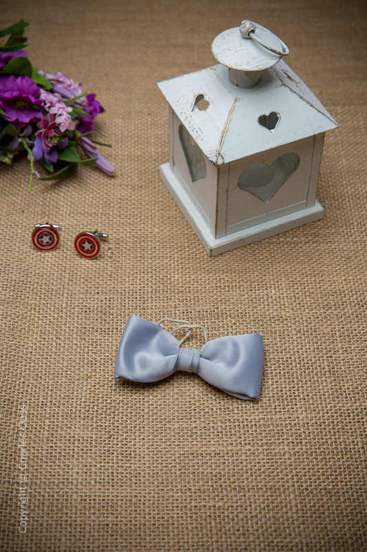 Boys Silver Elasticated Satin Dickie Bow