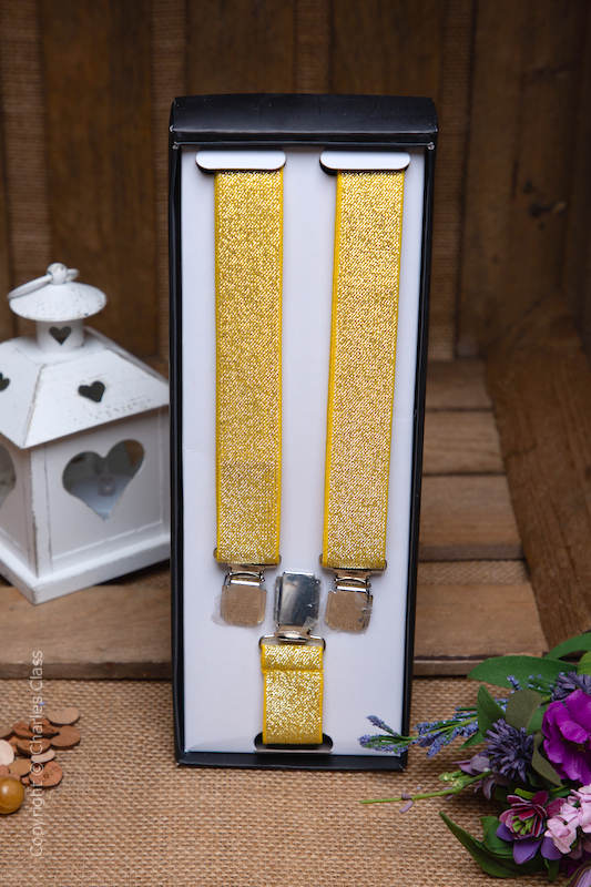 Boys Gold Sparkle Adjustable Braces in Gift Box