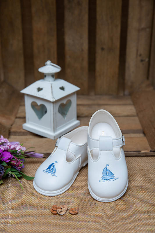 Boys White with Sky Blue Yacht T Bar Shoes by Baypods