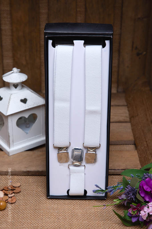 Boys White Formal Adjustable Braces in Gift Box