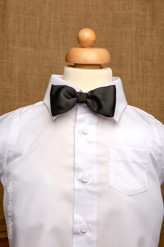 Boys White Italian Collar Shirt with Black Dickie Bow