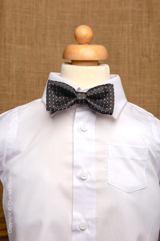Boys White Italian Collar Shirt with Black Polka Dot Dickie Bow