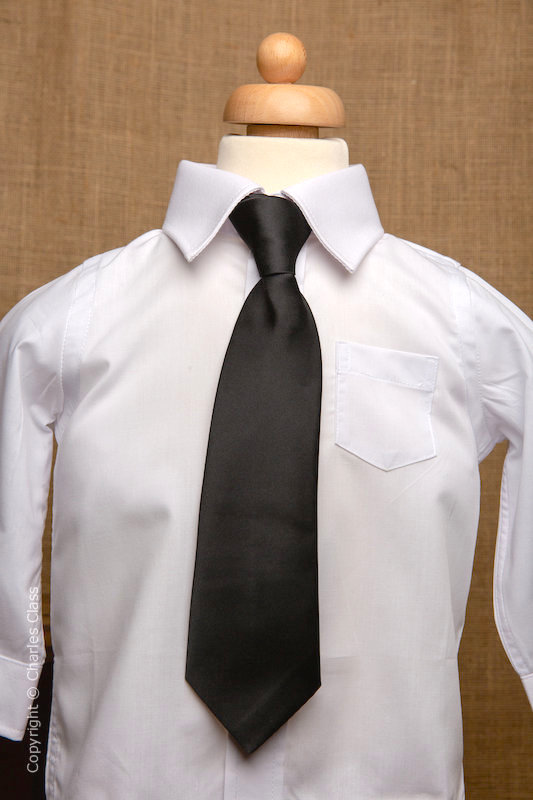 Boys White Italian Collar Shirt with Black Tie