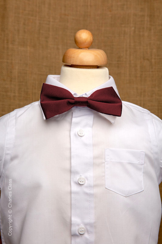 Boys White Italian Collar Shirt with Burgundy Dickie Bow