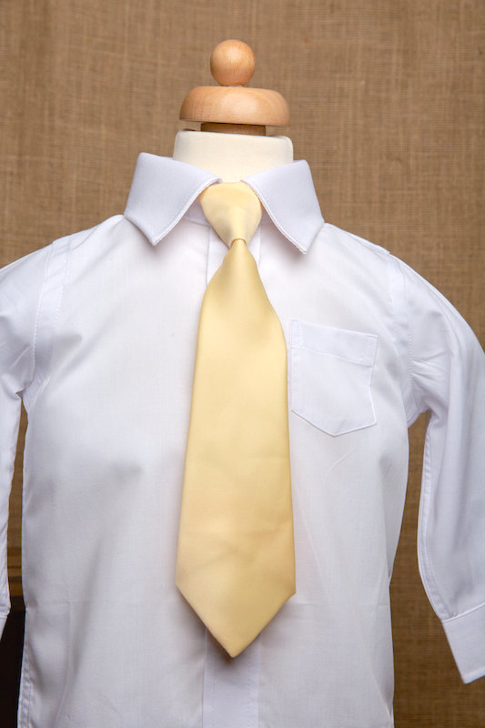 Boys White Italian Collar Shirt with Gold Tie