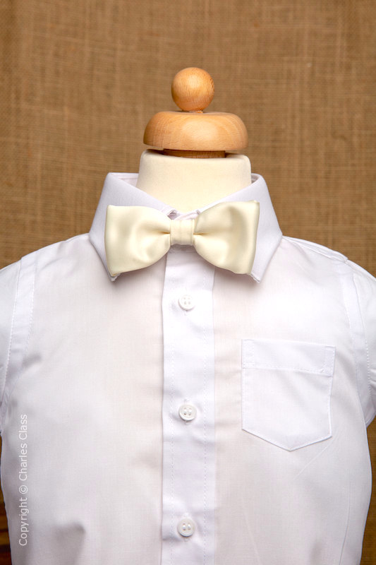 Boys White Italian Collar Shirt with Ivory Dickie Bow