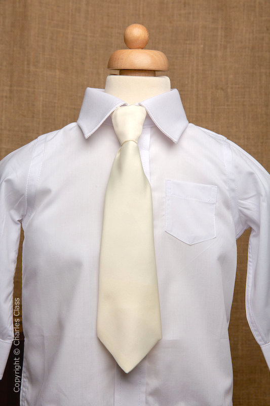 Boys White Italian Collar Shirt with Ivory Tie