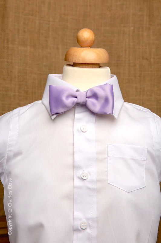 Boys White Italian Collar Shirt with Lilac Dickie Bow
