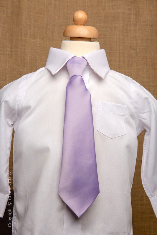 Boys White Italian Collar Shirt with Lilac Tie