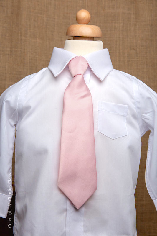 Boys White Italian Collar Shirt with Pale Pink Tie