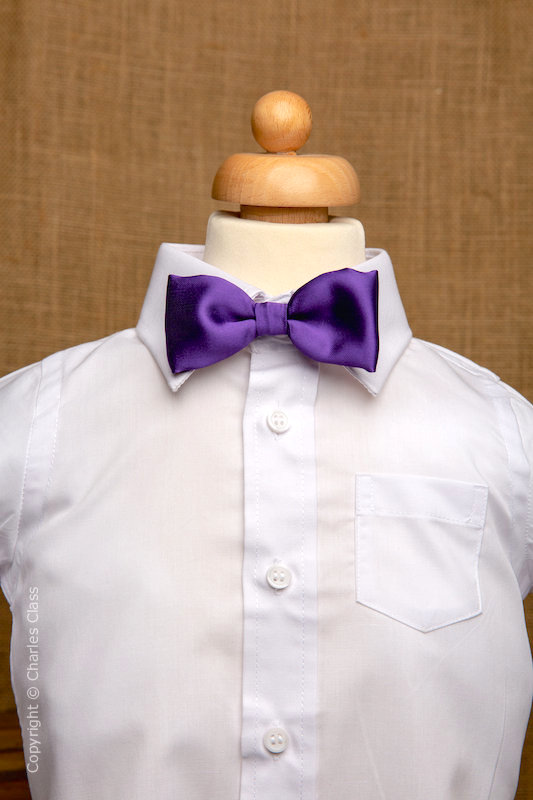 Boys White Italian Collar Shirt with Purple Dickie Bow
