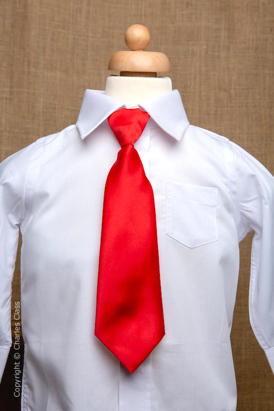 Boys White Italian Collar Shirt with Red Tie