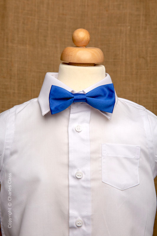 Boys White Italian Collar Shirt with Royal Blue Dickie Bow