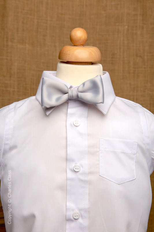 Boys White Italian Collar Shirt with Silver Dickie Bow
