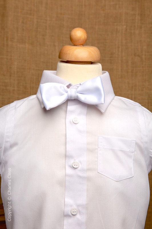 Boys White Italian Collar Shirt with White Dickie Bow