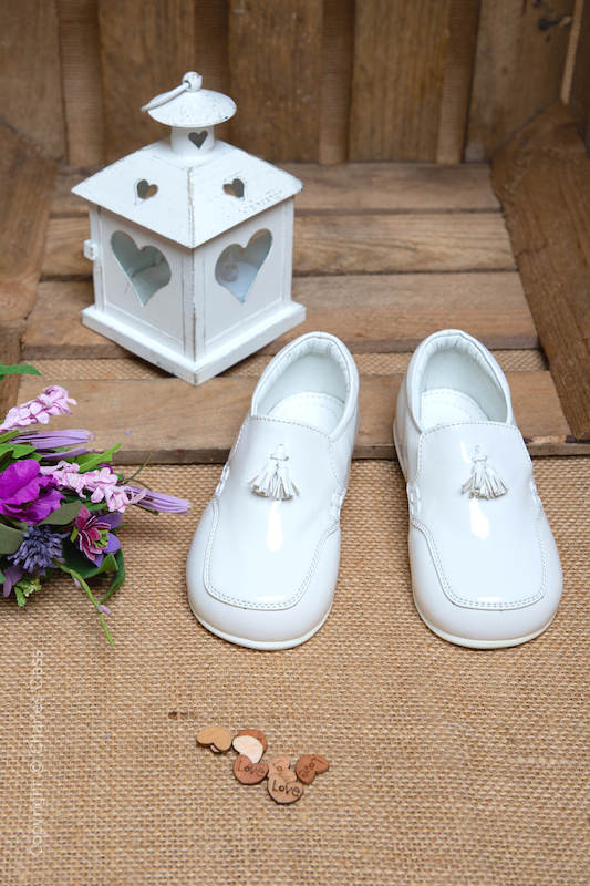 Boys White Patent Tassel Leather Loafers
