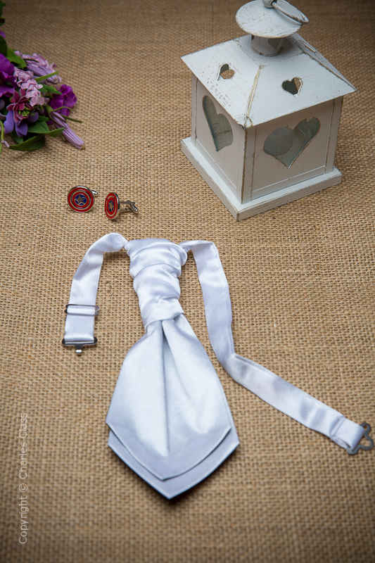 Boys White Ruche Satin Wedding Cravat