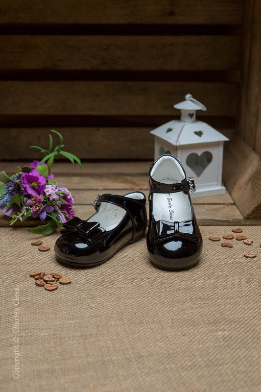 Girls Black Double Bow Patent Leather Shoes