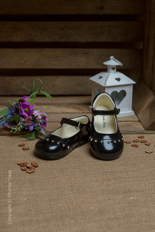Girls Black Fairy Sparkle Patent Leather Shoes
