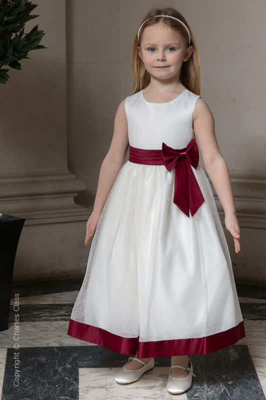 Girls Ivory with Burgundy Bow Flower Girl Dress - Sophia