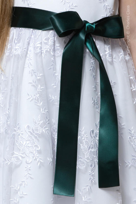 Hunter Green Premium Satin Flower Girl Sash