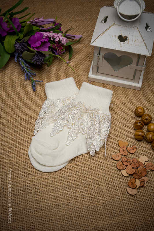 Girls Ivory Drop Leaf Guipure Lace Ankle Socks