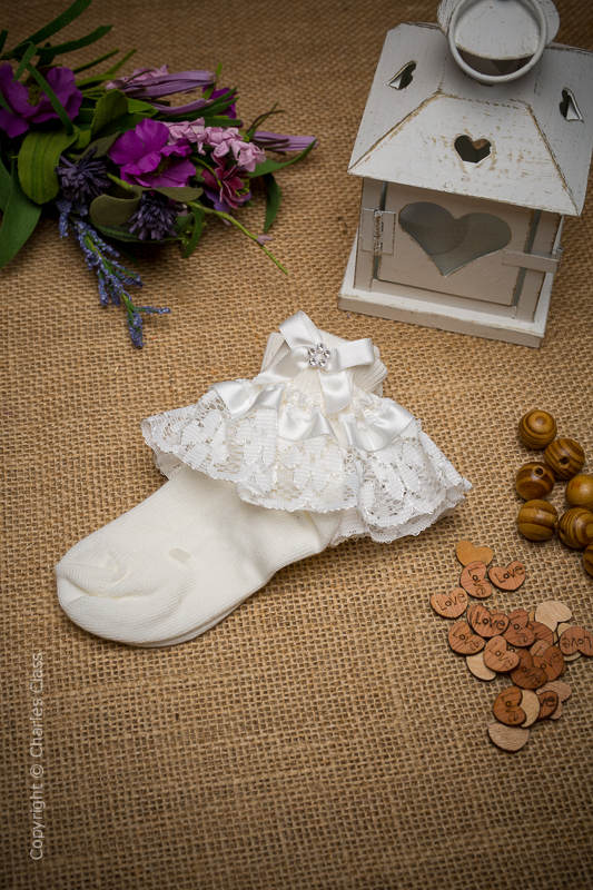Girls Ivory Diamante Bow Lace Flower Girl Ankle Socks