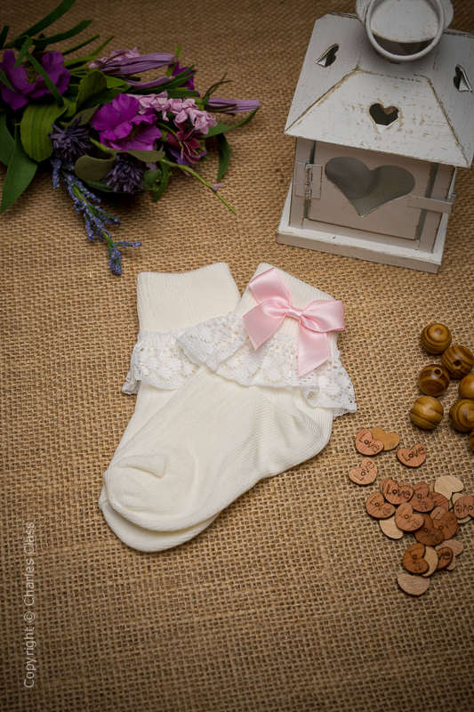 Girls Ivory Lace Cotton Ankle Socks with Baby Pink Bows