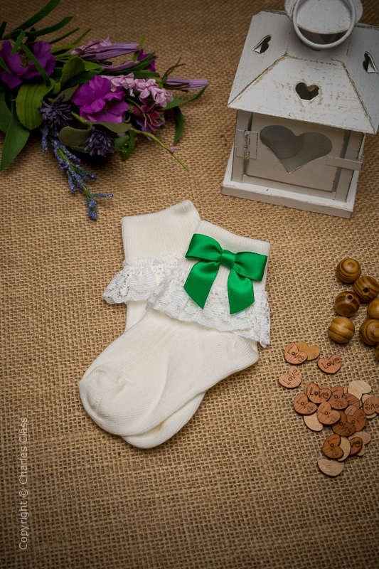 Girls Ivory Lace Ankle Socks with Emerald Green Bows
