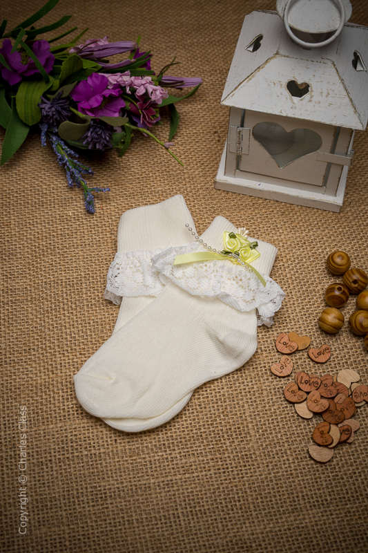 Girls Ivory Lace Ankle Socks with Lemon Flower Cluster