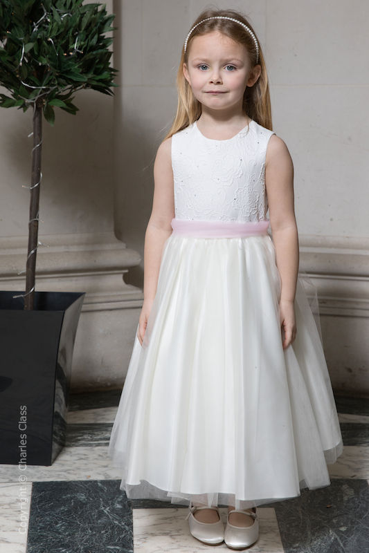 Girls Ivory Embroidered Dress with Pink Organza Sash - Olivia