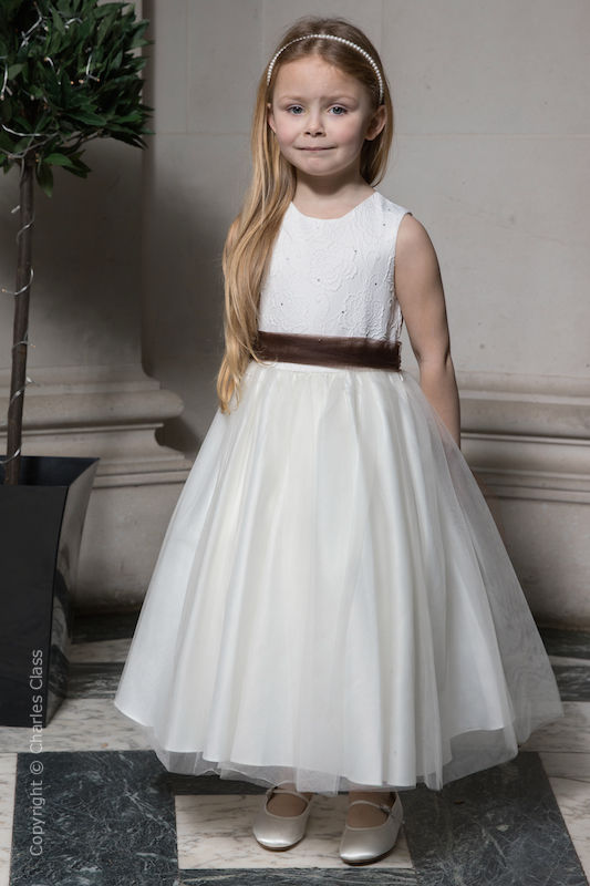Girls Ivory Embroidered Dress with Brown Organza Sash - Olivia