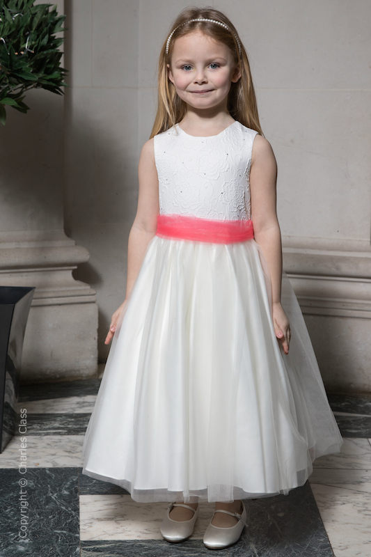 Girls Ivory Embroidered Dress with Coral Organza Sash - Olivia