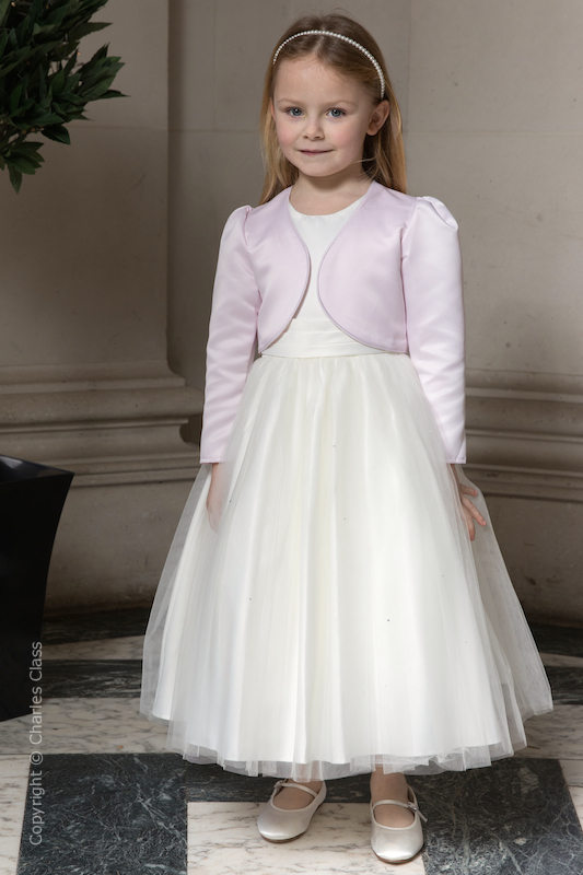Girls Ivory Diamanté Organza Dress with Light Pink Bolero - Grace