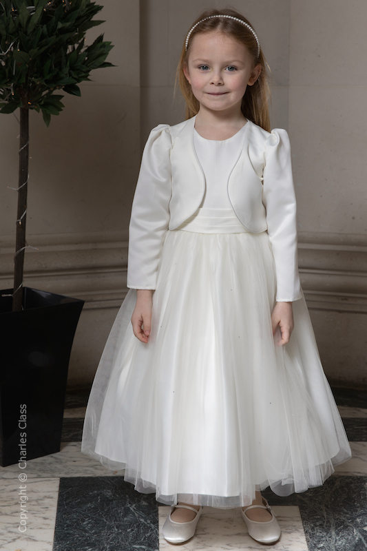 Girls Ivory Diamanté Organza Dress with Long Bolero - Grace