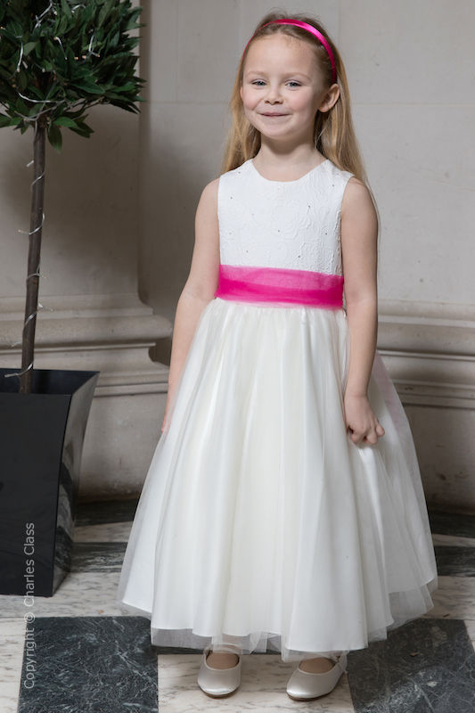 Girls Ivory Embroidered Dress with Hot Pink Organza Sash - Olivia