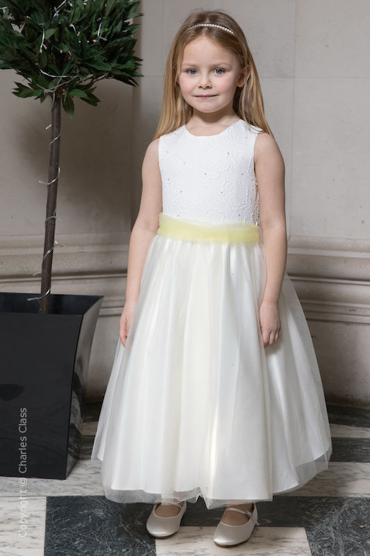 Girls Ivory Embroidered Dress with Lemon Organza Sash - Olivia