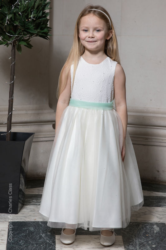 Girls Ivory Embroidered Dress with Mint Organza Sash - Olivia