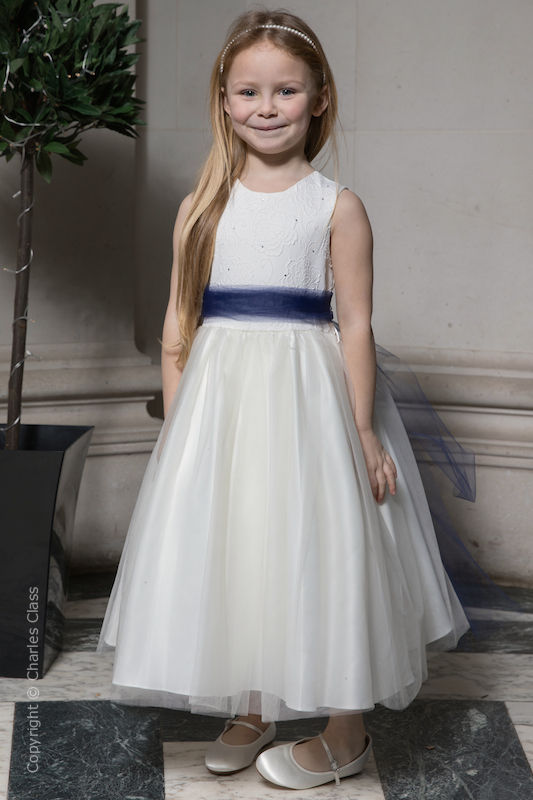 Girls Ivory Embroidered Dress with Navy Organza Sash - Olivia
