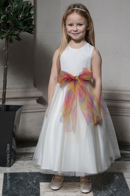 Girls Ivory Embroidered Dress with Rainbow Organza Sash - Olivia
