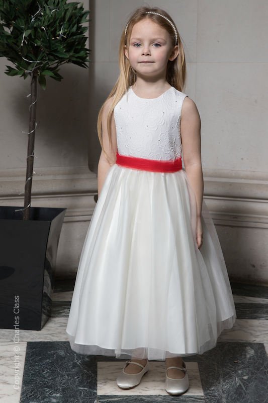 Girls Ivory Embroidered Dress with Red Organza Sash - Olivia