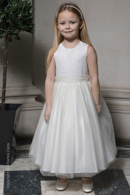 Girls Ivory Embroidered Dress with Organza Sash - Olivia
