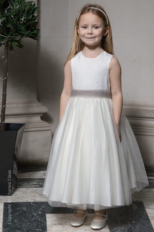 Girls Ivory Embroidered Dress with Silver Organza Sash - Olivia