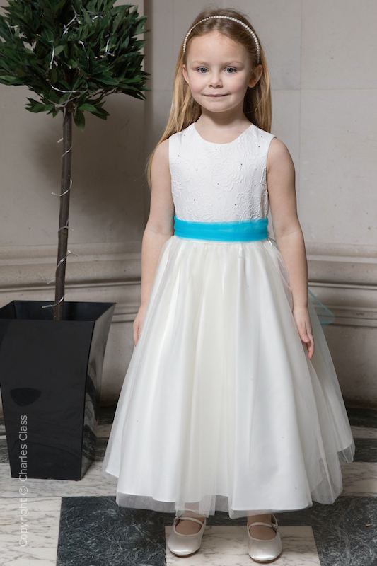 Girls Ivory Embroidered Dress with Turquoise Organza Sash - Olivia