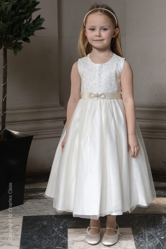 Girls Ivory Sequinned Appliqué Brooch Flower Girl Dress - Zara