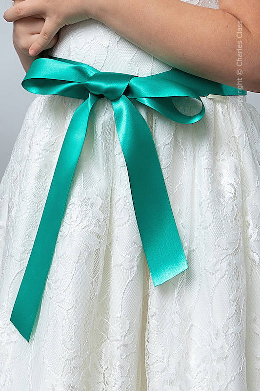 Jade Premium Satin Flower Girl Sash