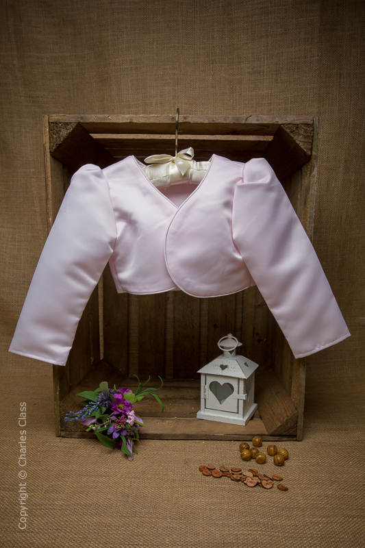 Girls Light Pink Satin Long Sleeve Bolero Jacket