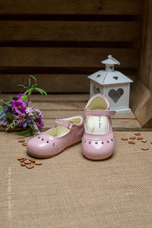 Girls Pink Fairy Sparkle Patent Leather Shoes